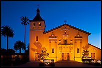Santa Clara Mission illuminated at dusk. Santa Clara,  California, USA ( color)