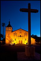 Cross and Santa Clara Mission at dusk. Santa Clara,  California, USA ( color)