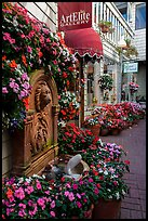 Art gallery decorated with flowers, Sausalito. California, USA (color)