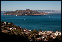 Angel Island seen from hills. California, USA (color)