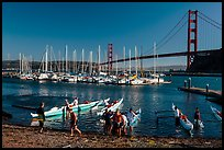 Horseshoe Bay, canoes, yachts and Golden Gate Bridge. California, USA (color)