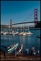 Presidio Yacht Club and Golden Gate Bridge. California, USA (color)