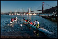 Outrigger canoes and Golden Gate Bridge. California, USA (color)