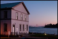 Tiburon Road-Ferry museum and Golden Gate Bridge at sunset. California, USA (color)