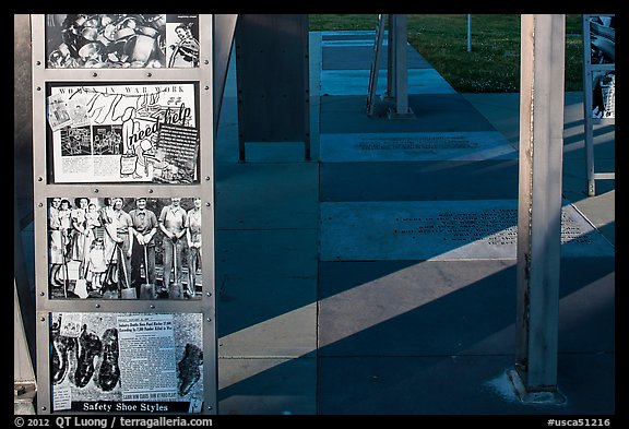 World War II pictures on Rosie the Riveter Memorial. Richmond, California, USA (color)
