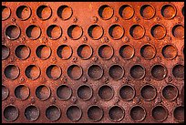 Grid of holes in metal, Shipyard No 3, Rosie the Riveter Front National Historical Park. Richmond, California, USA ( color)