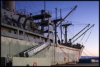 Victory and Liberty ship at dusk, Rosie the Riveter/World War II Home Front National Historical Park. Richmond, California, USA (color)