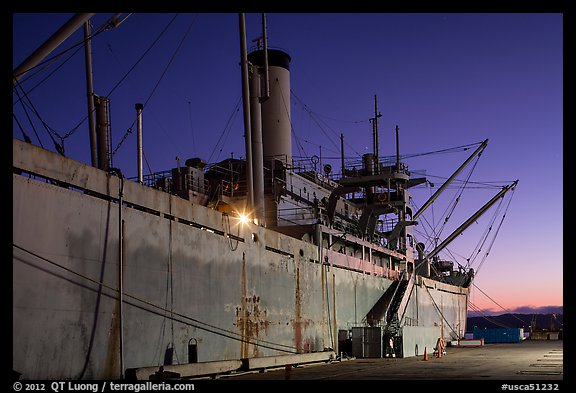 SS Red Oak Victory ship at dusk, Rosie the Riveter National Historical Park. Richmond, California, USA (color)