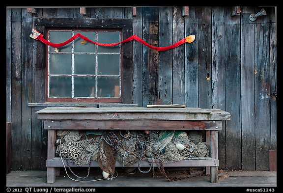 Shed with fishing gear and Chinese dragon, China Camp State Park. San Pablo Bay, California, USA (color)