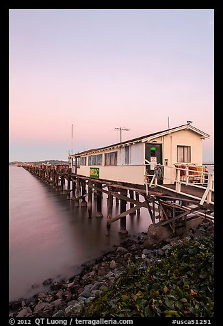 Pier on San Pablo Bay at sunset. San Pablo Bay, California, USA (color)