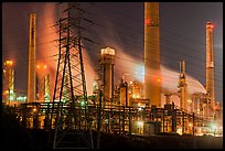 Shell Refinery by night. Martinez, California, USA ( color)