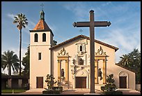 Cross and Mission Santa Clara de Asis, early morning. Santa Clara,  California, USA (color)