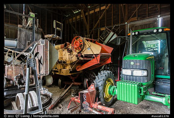 Barn full of agricultural machinery, Ardenwood farm, Fremont. California, USA (color)