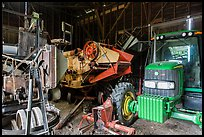 Barn full of agricultural machinery, Ardenwood farm, Fremont. California, USA ( color)