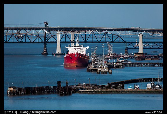 Pier, oil tanker, and Benicia-Martinez bridge. Martinez, California, USA (color)