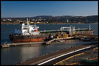 Oil tanker and Carquinez Strait. Martinez, California, USA (color)