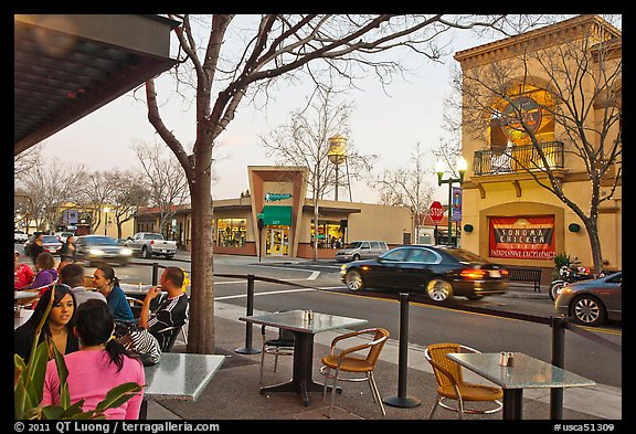 Outdoor tables on main street, Campbell. California, USA (color)