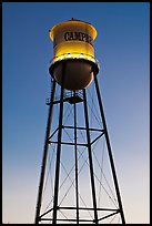 Water tower at dusk, Campbell. California, USA (color)