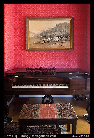 Piano and landscape painting, John Muir Home, John Muir National Historic Site. Martinez, California, USA (color)