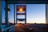 Mobile bridge at dusk, Mare Island, Vallejo. San Pablo Bay, California, USA (color)