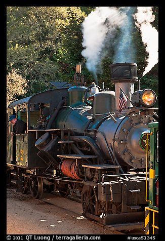 Steam locomotive, Roaring Camp Train, Felton. California, USA (color)