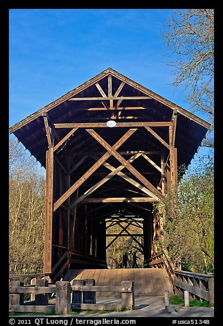 Felton Covered Bridge, tallest in America. California, USA (color)