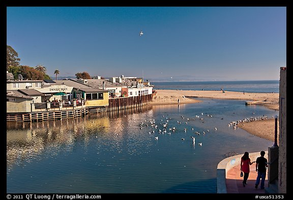 Creek and beach. Capitola, California, USA (color)
