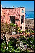 Garden, cottage, and beach. Capitola, California, USA (color)