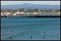 Surfers and municipal wharf. Santa Cruz, California, USA