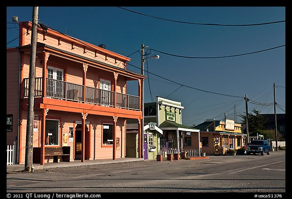 Storefronts, Moss Landing. California, USA (color)