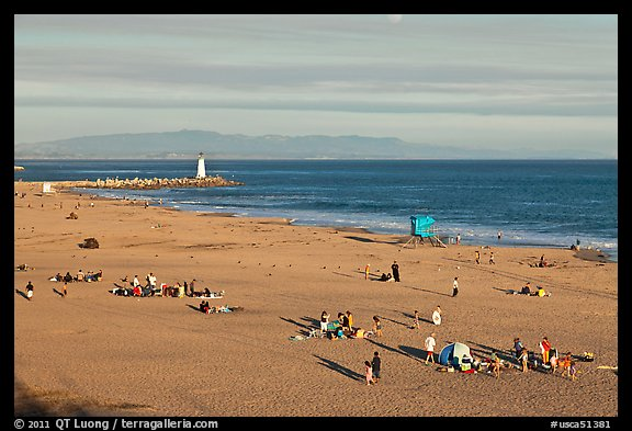 Beach and lighthouse, afternoon. Santa Cruz, California, USA (color)