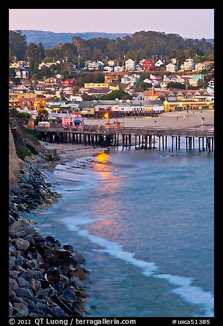 Fishing Pier and village at dusk. Capitola, California, USA (color)