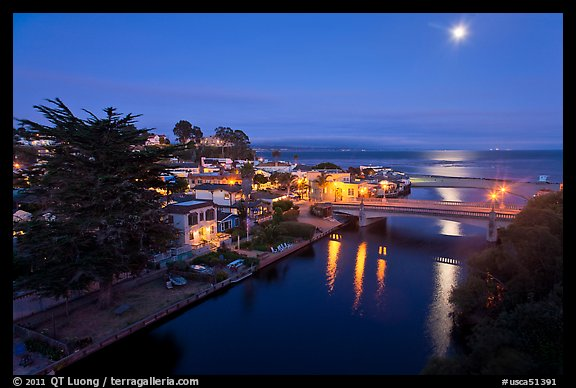 Capitola village, Soquel Creek and moon. Capitola, California, USA