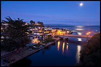 Capitola village, Soquel Creek and moon. Capitola, California, USA (color)
