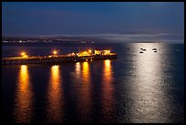 Pier and yachts with moon reflection. Capitola, California, USA (color)
