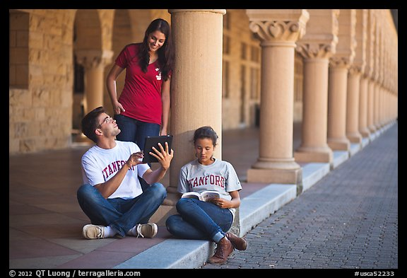 Students on the Quad. Stanford University, California, USA (color)