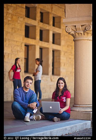 Stanford students. Stanford University, California, USA (color)