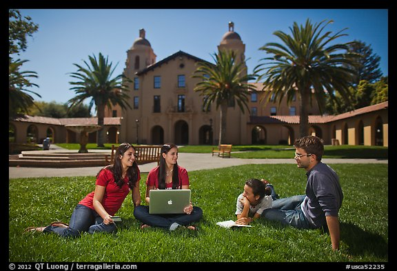 Students on lawn. Stanford University, California, USA (color)