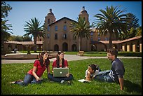 Students on lawn. Stanford University, California, USA ( color)
