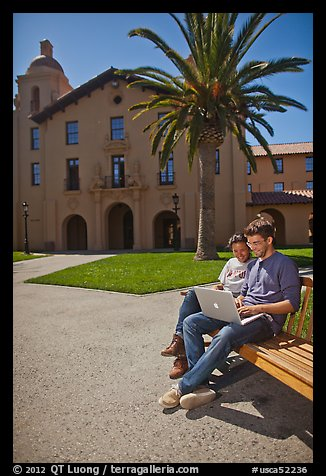 Students with laptop on bench. Stanford University, California, USA (color)