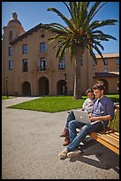 Students with laptop on bench. Stanford University, California, USA ( color)