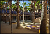 Palm Courtyard, Schwab Residential Center. Stanford University, California, USA (color)