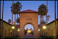 Gates at dusk, Main Quad. Stanford University, California, USA (color)