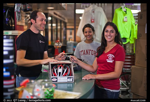 Credit card transaction, Campus Bike Shop. Stanford University, California, USA (color)