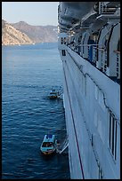 View from cruise ship anchored off island coast, Catalina. California, USA (color)