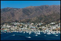 Avalon and mountains seen from Descanso Bay, Catalina. California, USA (color)