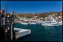 Fishing from Avalon pier, Santa Catalina Island. California, USA ( color)