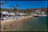 Children in water, Avalon beach, Catalina Island. California, USA (color)
