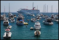 Yachts and cruise chip, Avalon Bay, Santa Catalina Island. California, USA (color)
