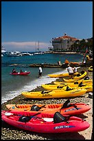 Sea kayaks and casino, Avalon Bay, Catalina Island. California, USA (color)